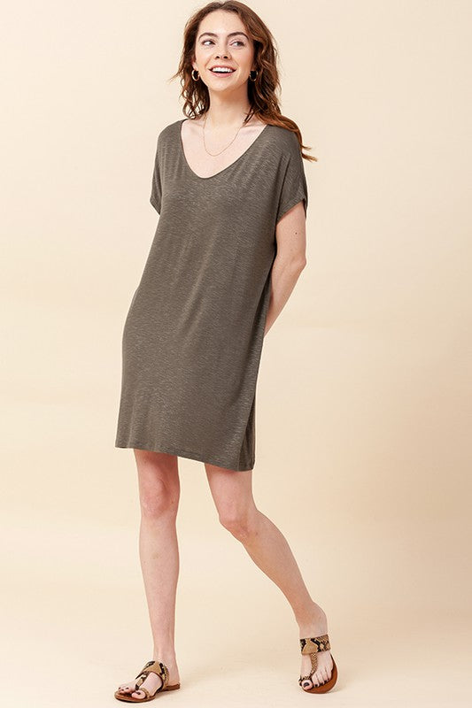 V Neck Dolman Short Sleeve Shift Dress - Olive