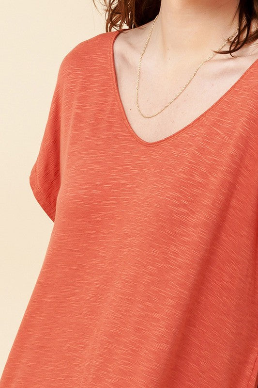 V Neck Dolman Short Sleeve Shift Dress - Terra Cotta