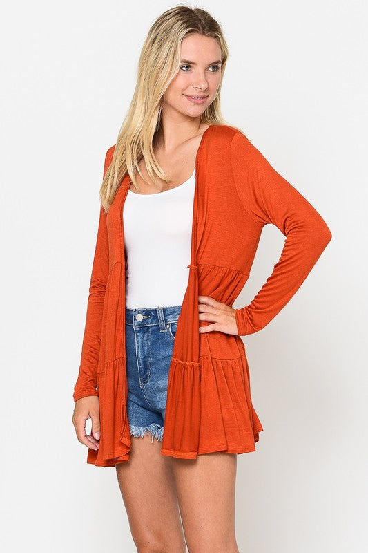 Solid long sleeve Layered Cardigan