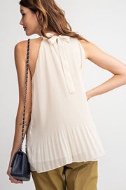 Pleated Sleeveless Halter Chiffon Tunic