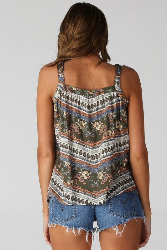 Button Front Printed Tank