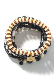 Black + Tan Multi Layer Beaded Bracelet