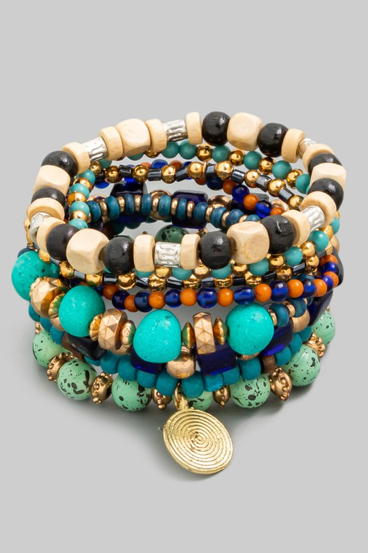Multi Stone Bead Stretch Bracelet Set
