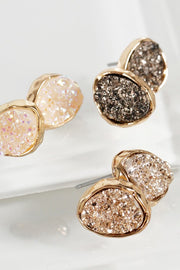 Dainty Oval Druzy Post Earrings