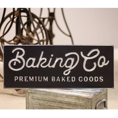 Black and Galvanized Metal Baking Co Sign
