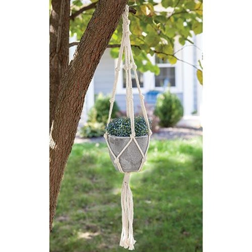 Hanging Macrame Net with Cement Pot