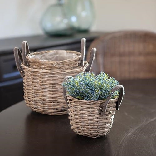Gray Round Baskets w/ Handles