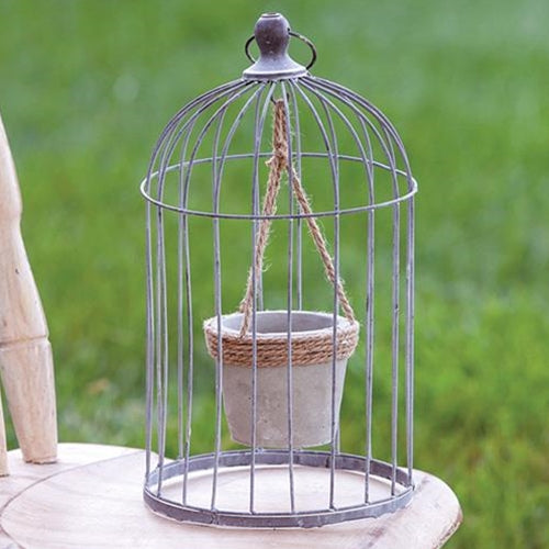 Metal Birdcage with Cement and Jute Plant Holder, Large