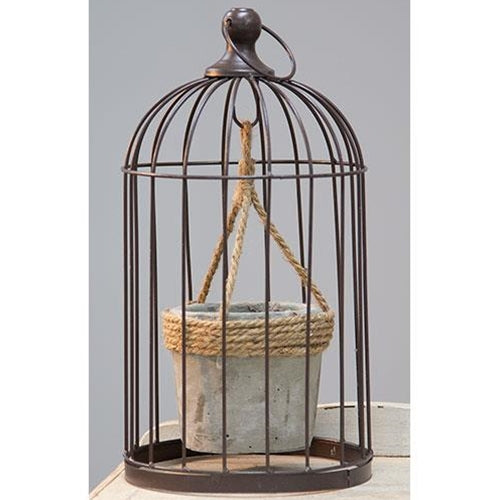Metal Birdcage with Cement and Jute Plant Holder, Medium