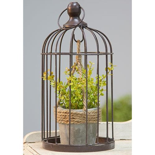 Metal Birdcage with Cement and Jute Plant Holder, Small