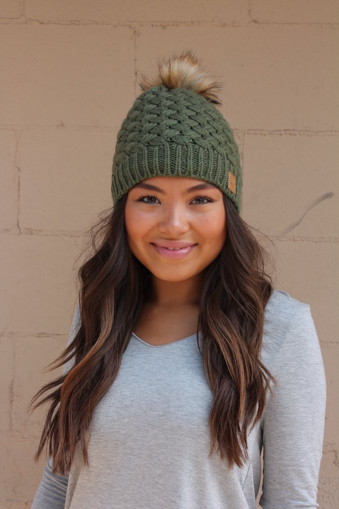 Olive basket weave knit hat with pom accent