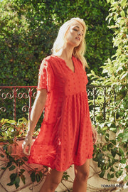 Swiss Dot Pattern Pocket Dress