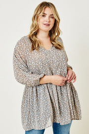 Floral Balloon Sleeve Tunic Top