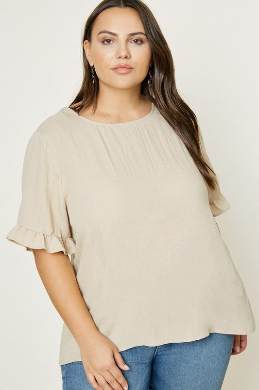 Linen Ruffle Button-Down Top