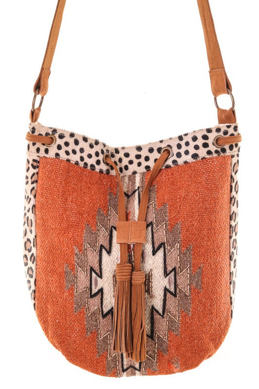 Large Boho Native Woven Crossbody Bag