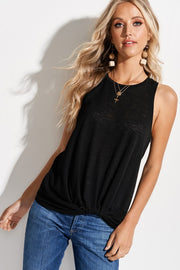 Sleeveless twist hem casual tank top - Black