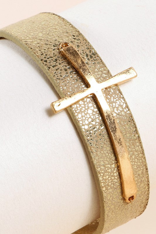 Cross Metallic PU Leather Bracelet