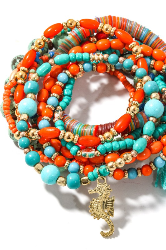 Turq Multi Layer Beaded Bracelet