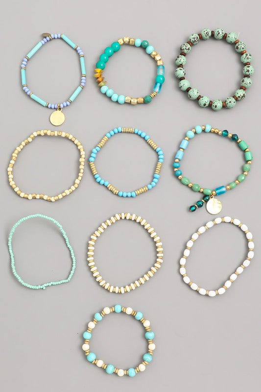 Multi Stone Robins Egg Bead Bracelet Set
