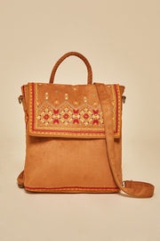 Embroidery Convertible Backpack Crossbody