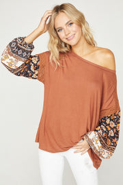 Bubble Sleeve Knit Top