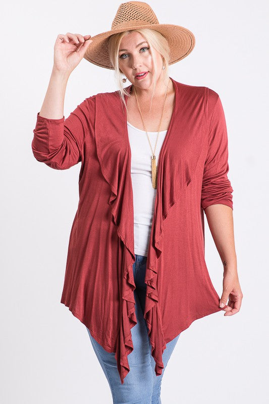 Open Front Layered Side Tail Cardigan