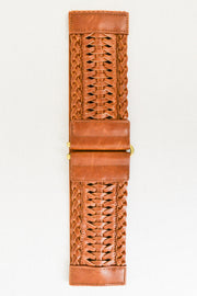 Faux Leather Braid Elastic Belt - Camel