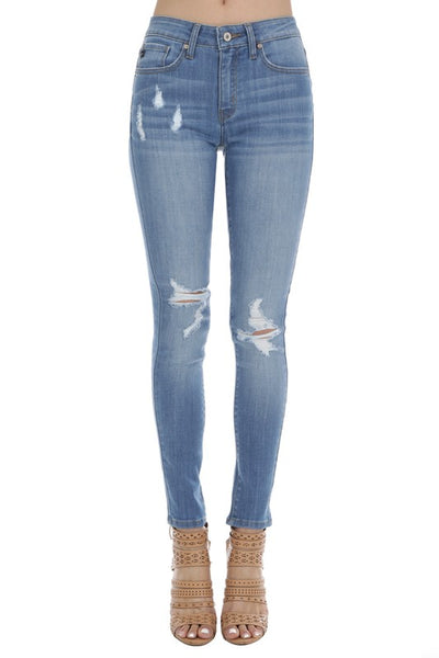 Tried & True Light Distressed Denim Kancan Jeans