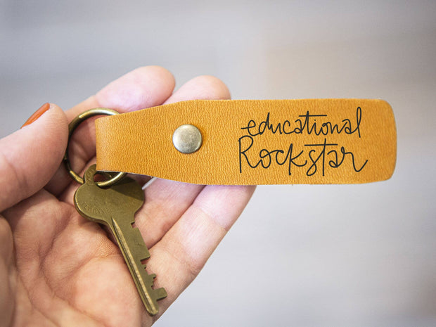Leather Keychain - Educational Rockstar