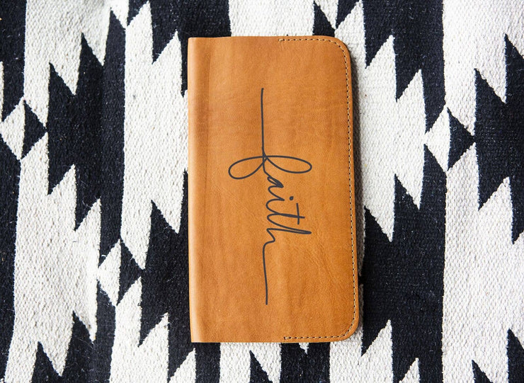 Tan Leather Notebook Journal- Faith