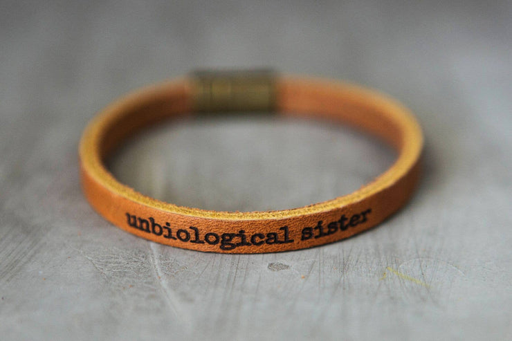 Leather Bracelet with Inspirational Saying