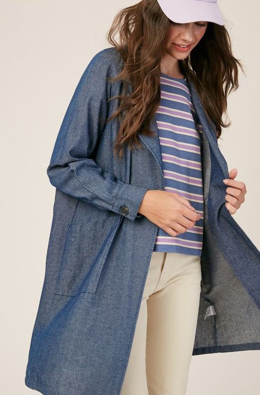 Vintage Chambray Open Trench Coat