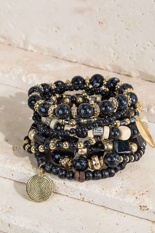 Black and Gold Mixed Bead Bracelet Set