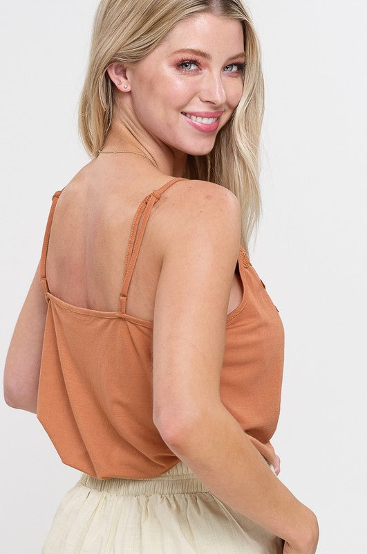 Textured Soft Camisole With Crochet Patch - Clay