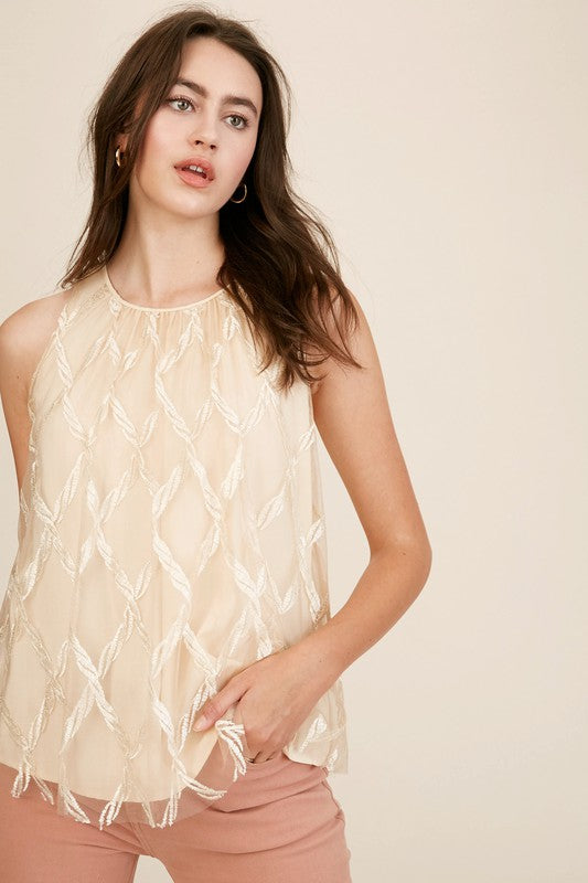 Embroidery Mesh Sleeveless Top