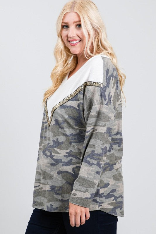 V neck Camo Long Sleeve Top