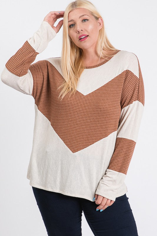 Jersey and waffle color blocked long sleeve top