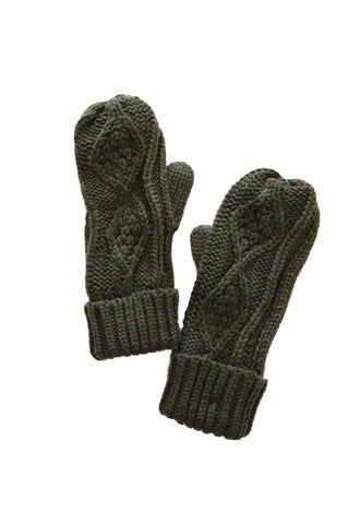 Olive mittens with fleece lining