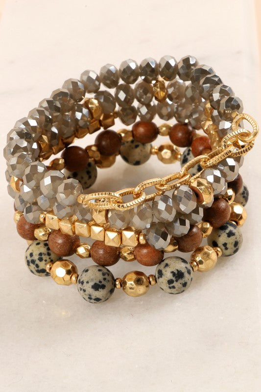 Set of five stretch bracelets