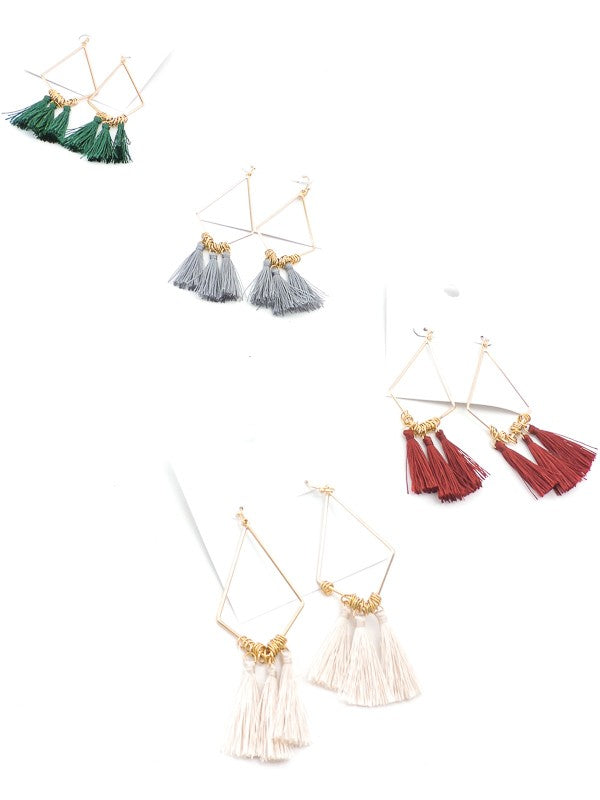 Tri Tassel Embellished Drop Earrings