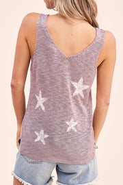V-Neck Star Sweater Tank Top