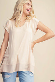 Rib Mixed V-neck Top
