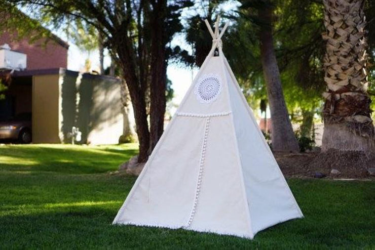 Boho White Teepee with Mat