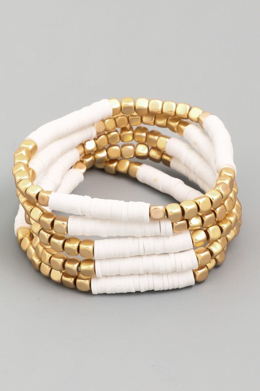 White and Gold Disc Beaded Stretch Bracelet