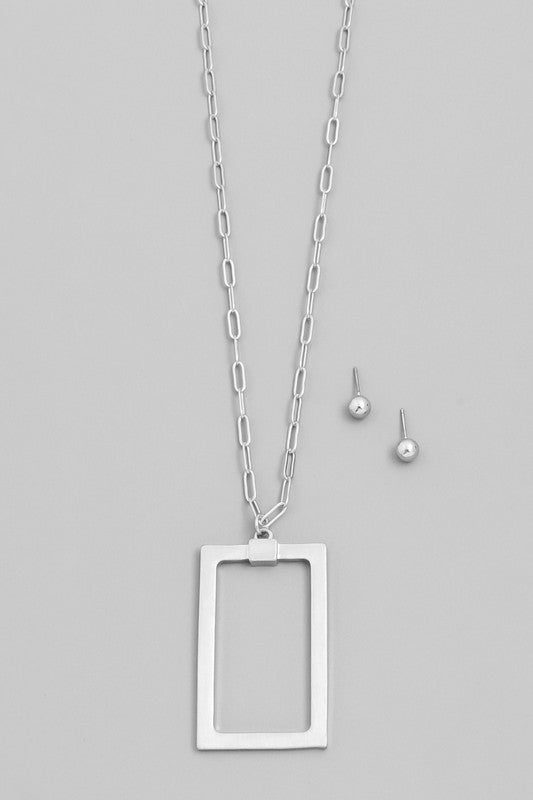 Rectangle Pendant Necklace Set