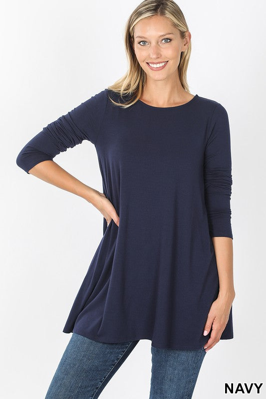 3/4 Sleeve Boat Neck Flared Tunic Top