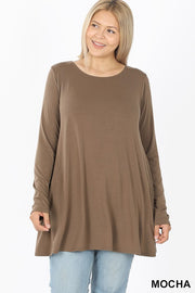 Long Sleeve Sleeve Boat Neck Flared Tunic Top