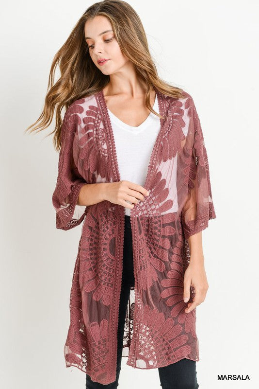 All Lace Long Body Kimono