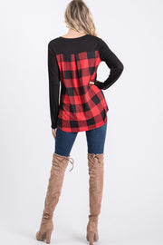 Plaid Detail Long Sleeve Top