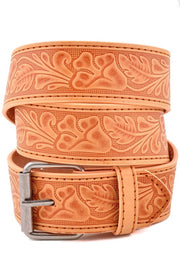 Genuine Leather Floral Design Belt